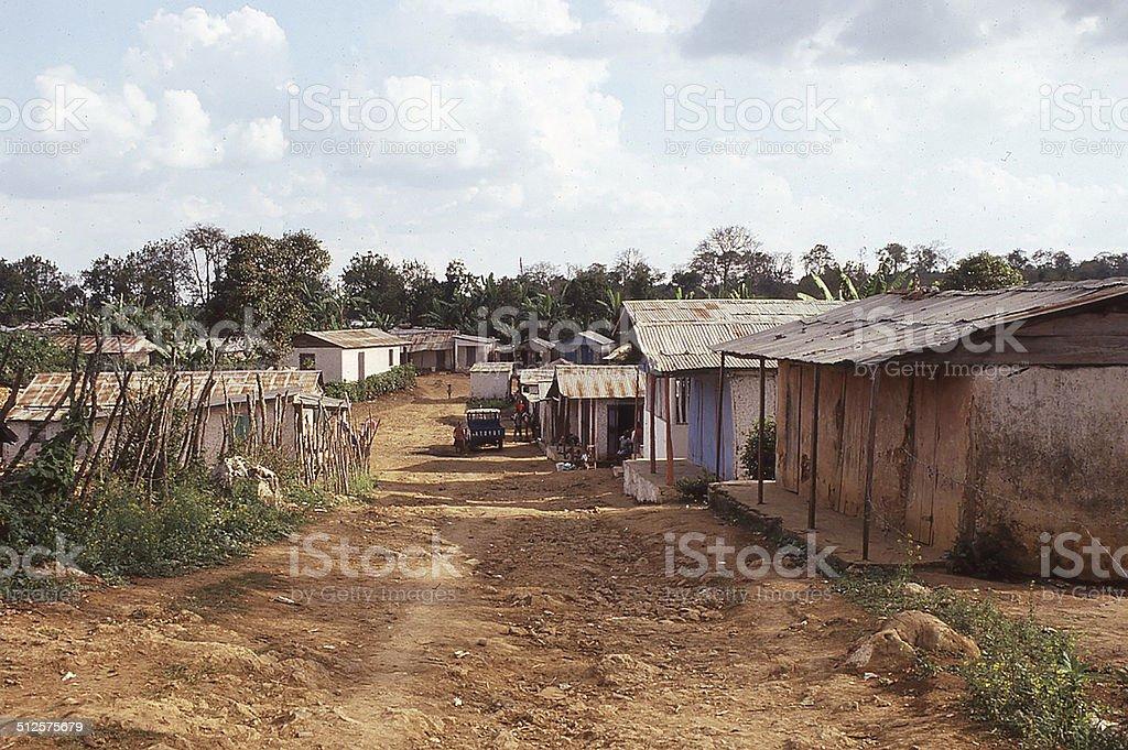 Dirt Street mountain town Central Plateau of Haiti stock photo