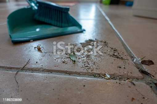473158422 istock photo dirt swept with a broom is lying on the floor 1189203699