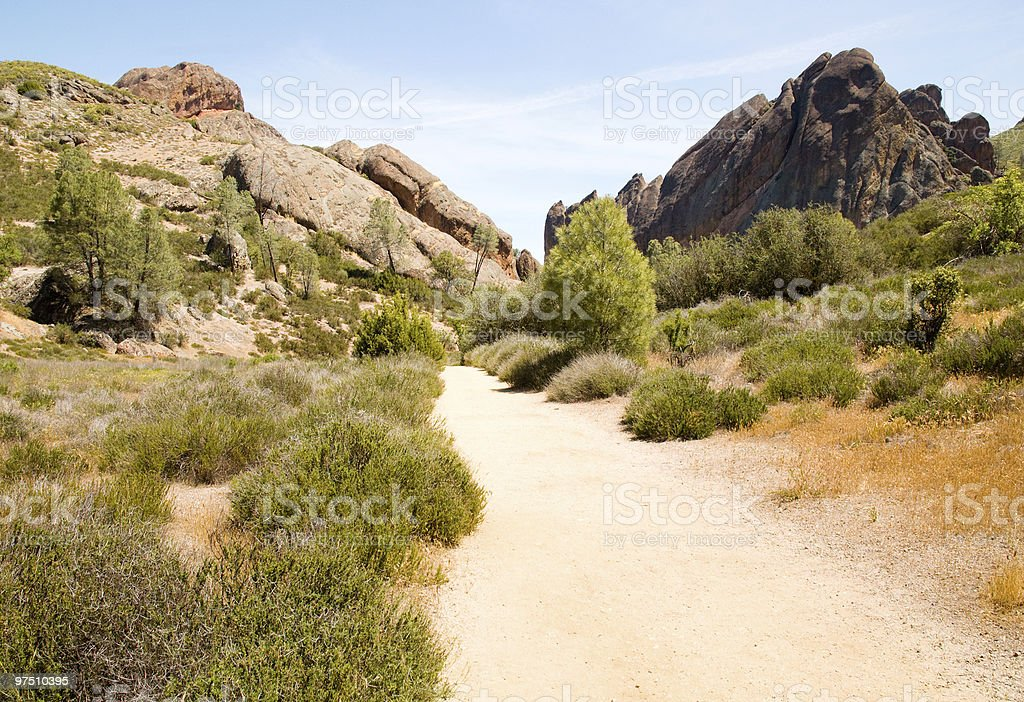 dirt trail through the Pinnacles National Monument rock hills royalty-free stock photo