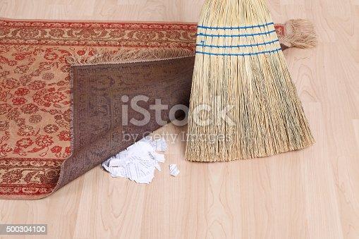 Dirt Under The Rug Stock Photo & More Pictures of Below