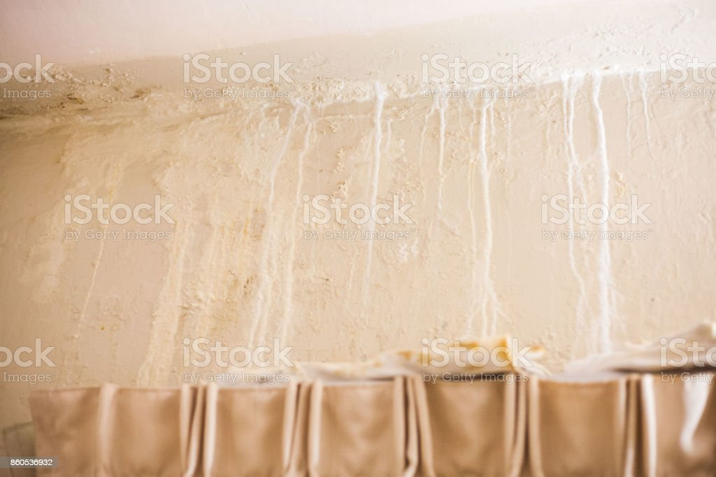 Dirt watery ceiling leaking view indicating dangerous of flood and mold grow stock photo