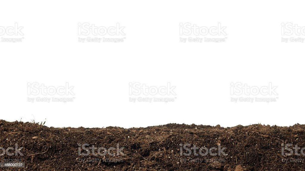 Dirt With Compost Isolated On White Background stock photo