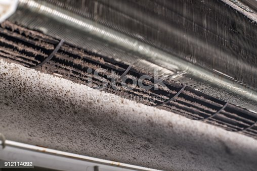 931591820 istock photo Dirty air conditioner blower fan and coil 912114092
