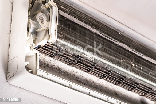 931591820 istock photo Dirty air conditioner blower fan and coil 912145584