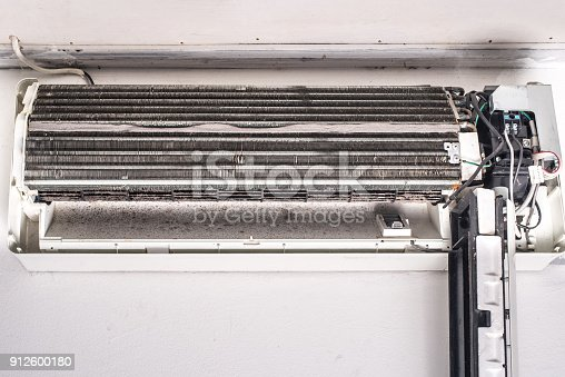 931591820 istock photo Dirty air conditioner blower fan and coil 912600180