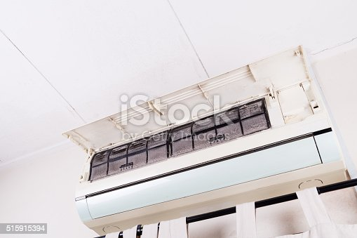 931591820 istock photo Dirty air conditioning unit full of dust dirt on filters 515915394