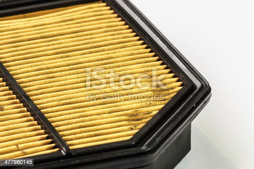 istock Dirty Air Filter Cartridge  on White Background, Closeup 477980145