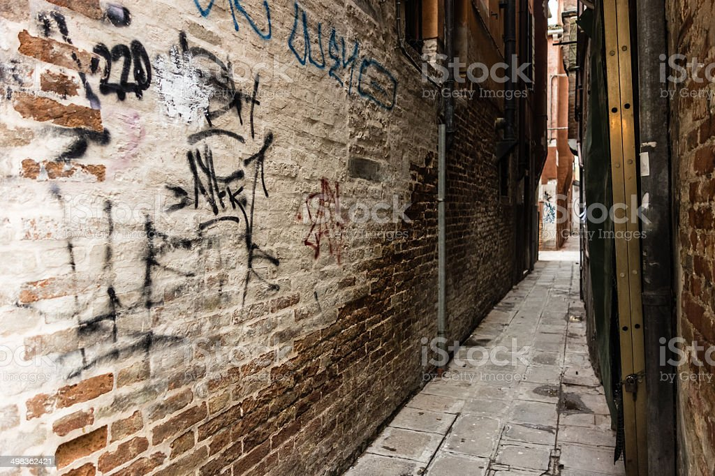 Dirty alley stock photo