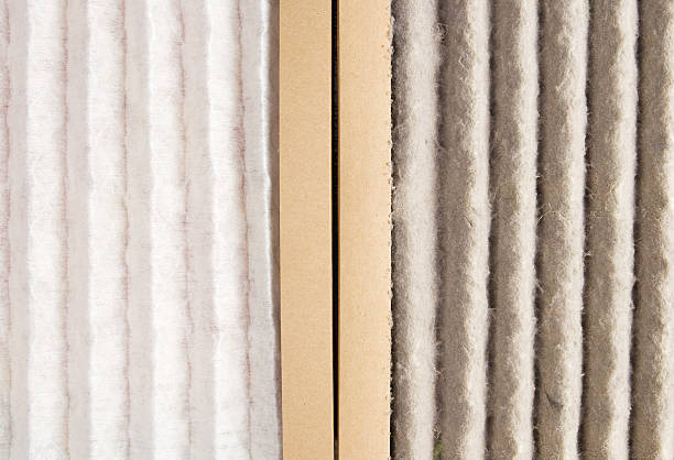 Dirty and Clean Air Filter stock photo