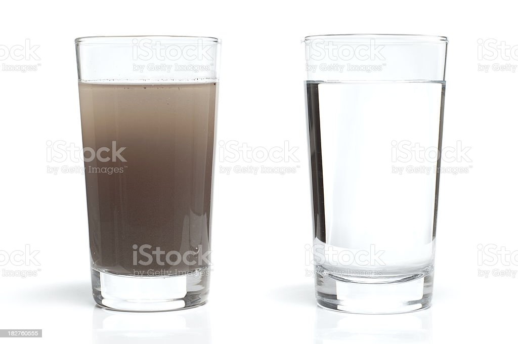 Dirty and Clean Water in Glasses stock photo