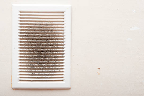 Dirty and dusty ventilation shaft close-up photo stock photo
