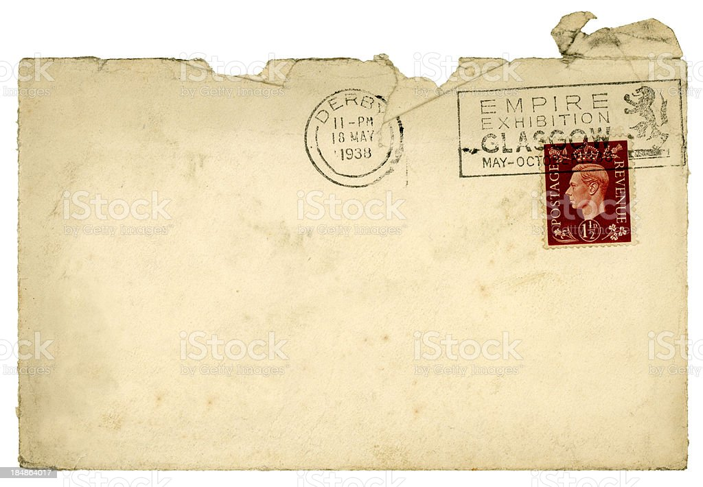 Dirty used envelope from Derby, 1938 stock photo