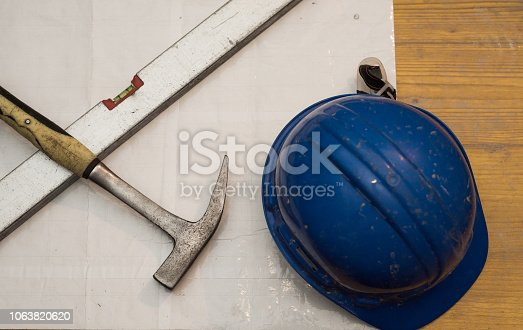 936384788 istock photo Dirty architecture equipment on a construction site. 1063820620