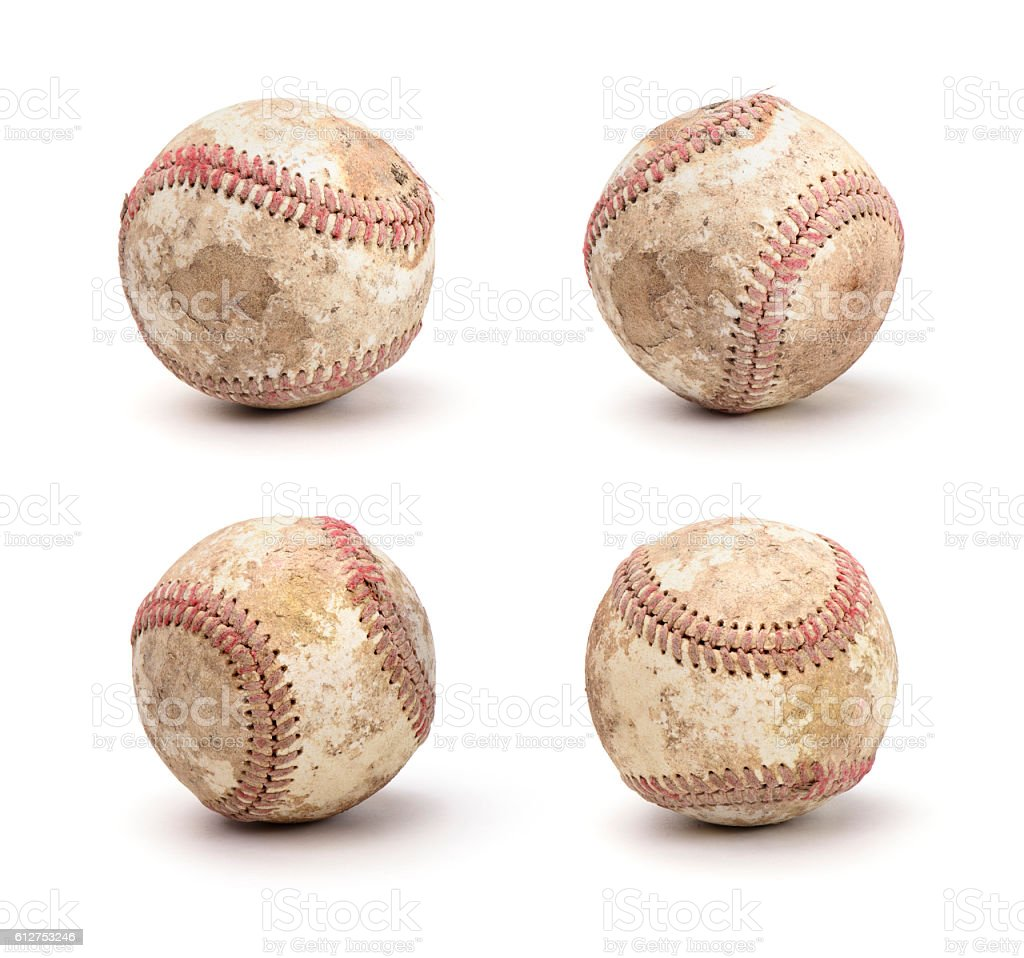 dirty baseball set stock photo
