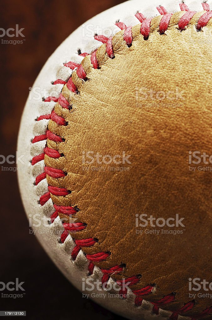 dirty baseball, white and brown, close-up royalty-free stock photo