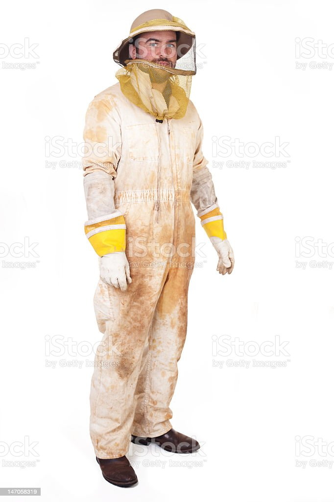 Dirty beekeeper in full body uniform with gloves and hat stock photo