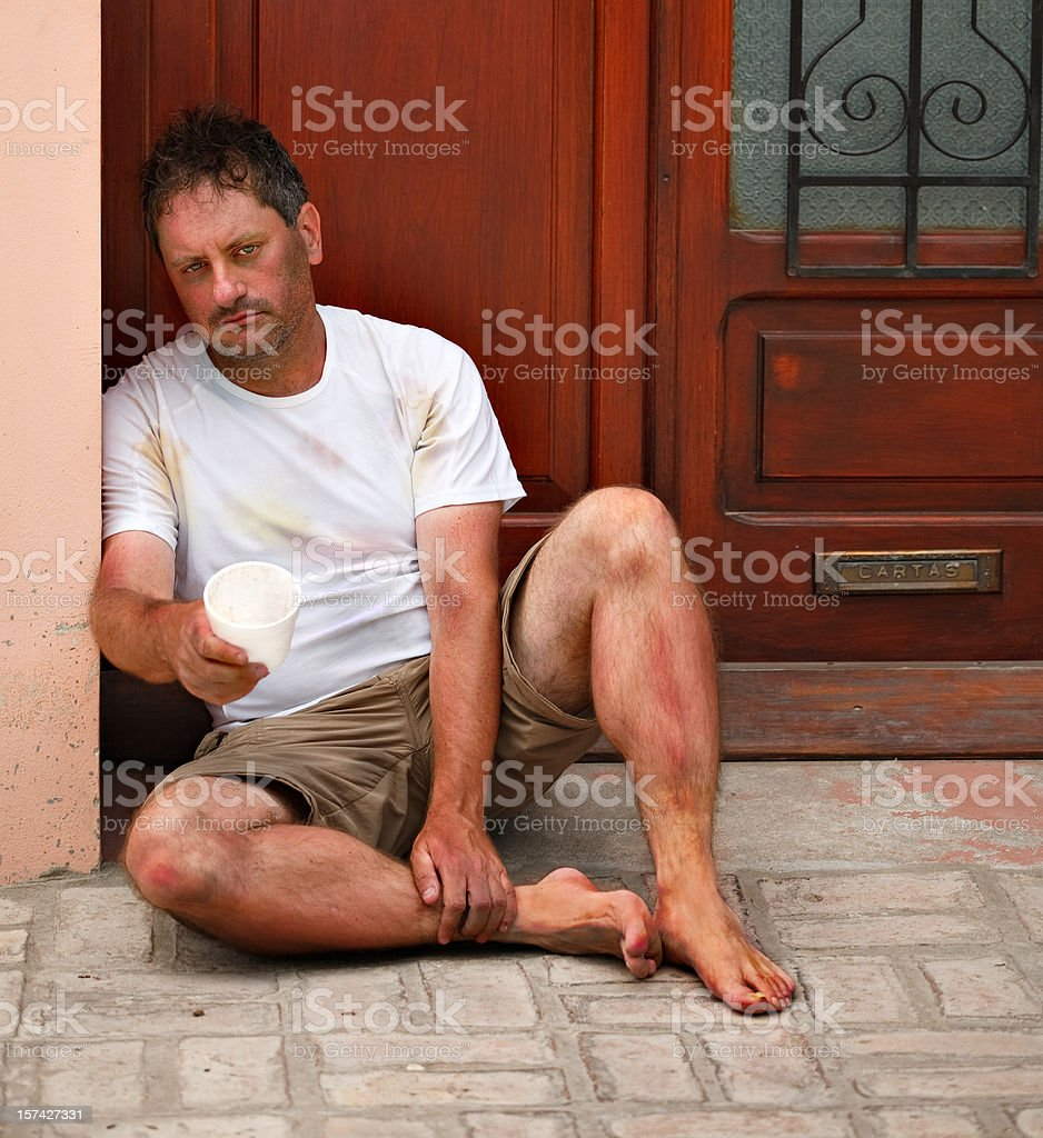 Dirty Beggar stock photo