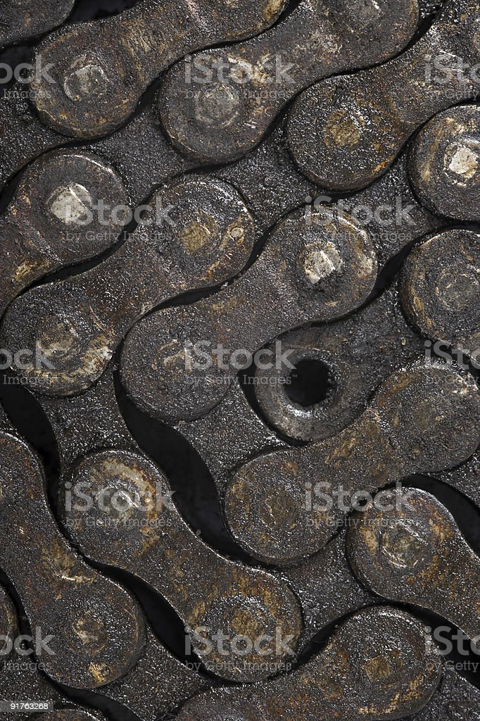 Dirty bicycle chain background stock photo