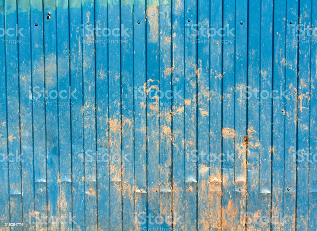 Dirty blue metal wall surface. stock photo