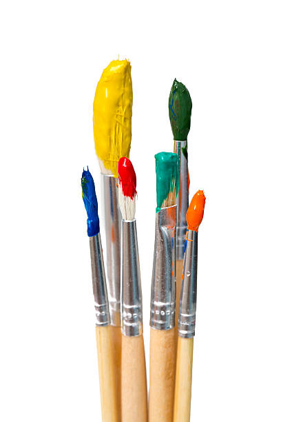 dirty brushes isolated on  white background stock photo