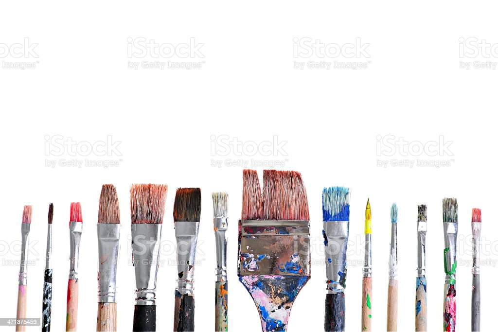 Dirty brushes royalty-free stock photo