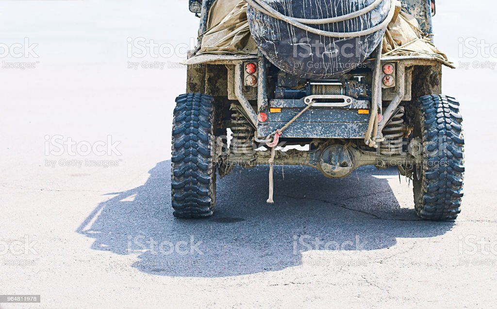Dirty brutal off-road SUV vehicle royalty-free stock photo