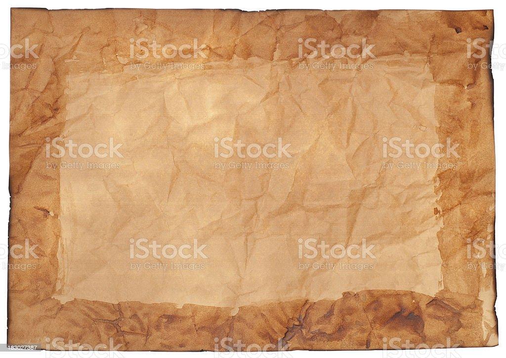 Dirty Verbrannt Zerknitterten Papier Mit Rahmen Stock-Fotografie und ...