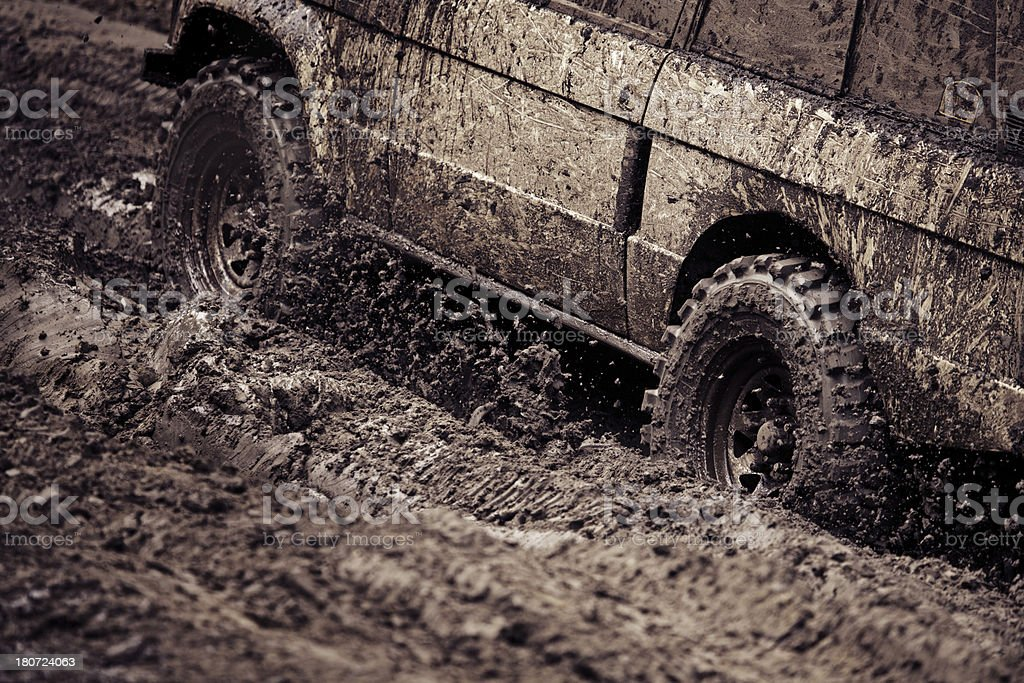 dirty car during off-road race royalty-free stock photo
