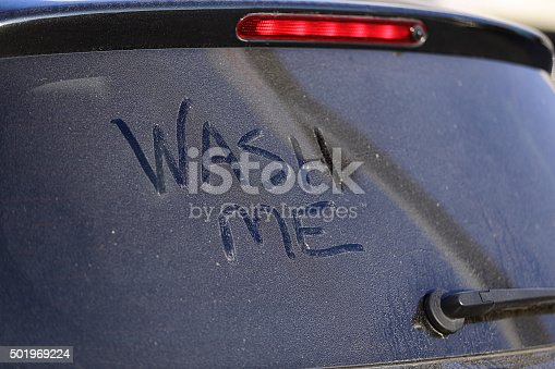 Dirty Car Window And Wash Me Sign Stock Photo Istock