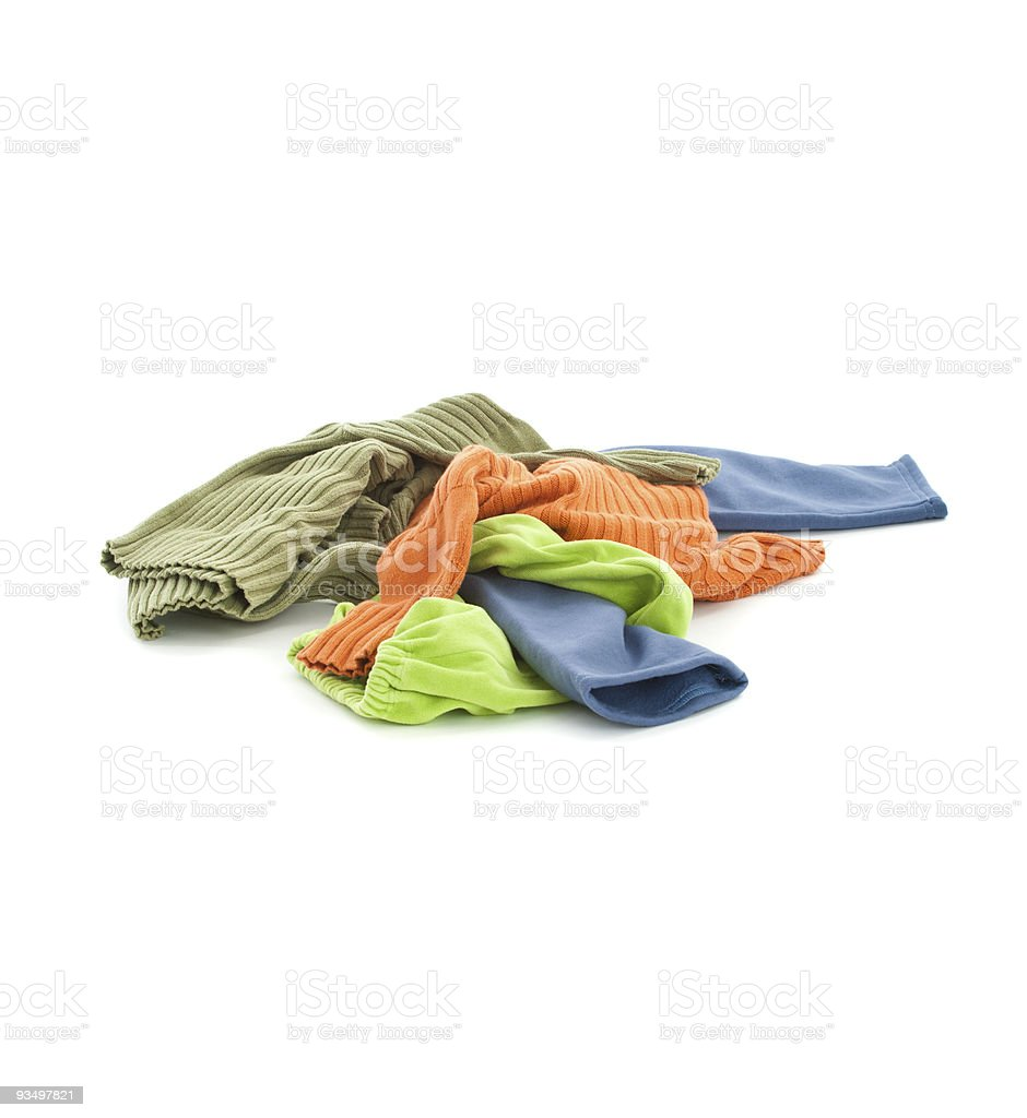 Dirty child's clothing over white stock photo