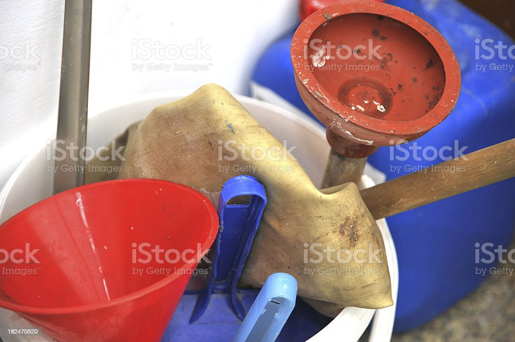 dirty cleaning equipment - Putzeimer royalty-free stock photo