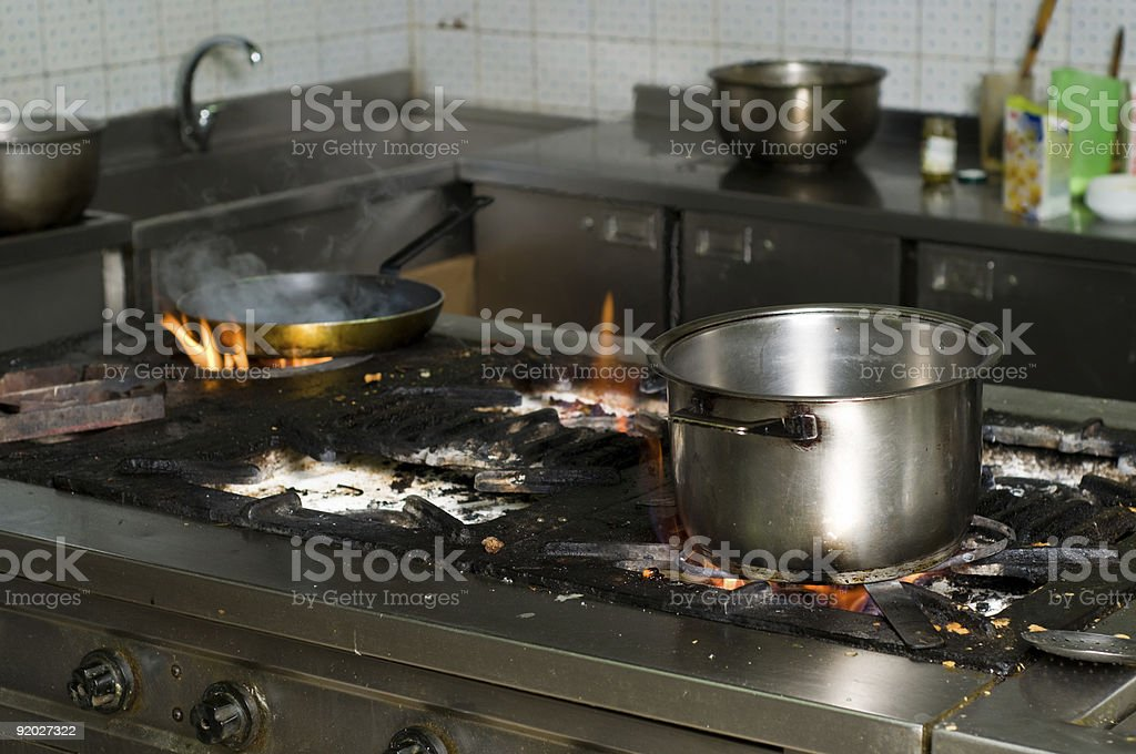 dirty commercial kitchen interior stock photo