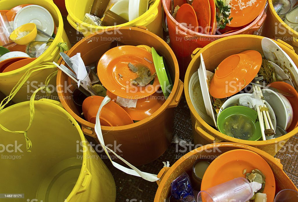 Dirty dishes and bowls stock photo