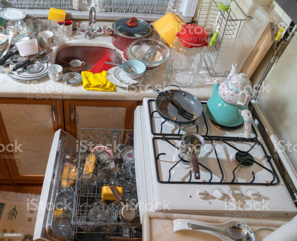 Dirty Dishes In Kitchen Sink Stock Photo & More Pictures of Chaos ...
