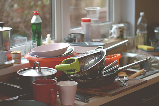 Dirty Dishes In The Sink Stock Photo - Download Image Now
