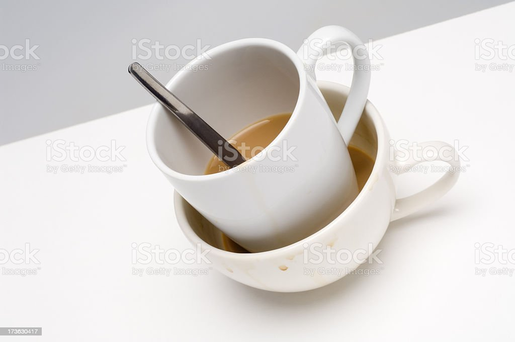Dirty dishes on white table royalty-free stock photo