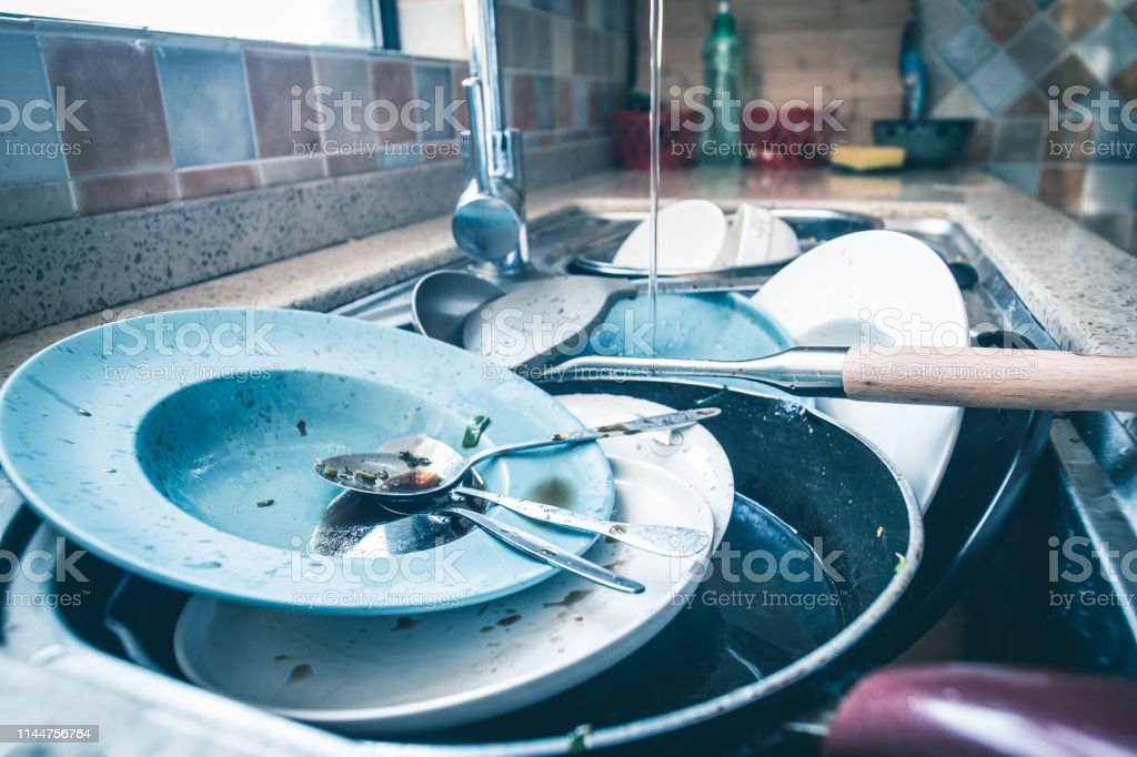 Dirty dishes waiting wash