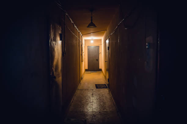 dirty empty dark corridor in apartment building, doors, lighting lamps - upiorny zdjęcia i obrazy z banku zdjęć