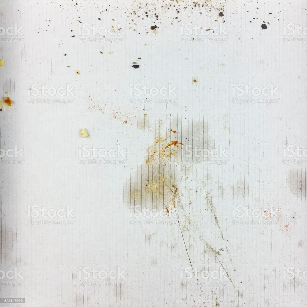 Dirty empty pizza box - top view stock photo
