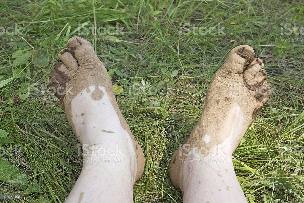 Dirty feet stock photo
