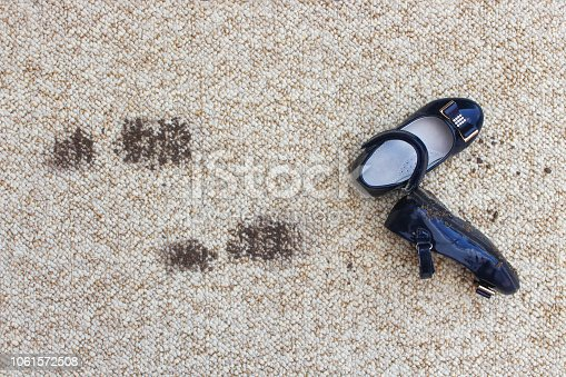 istock Dirty floor and children's shoes. Concept of child soiled carpet. 1061572508