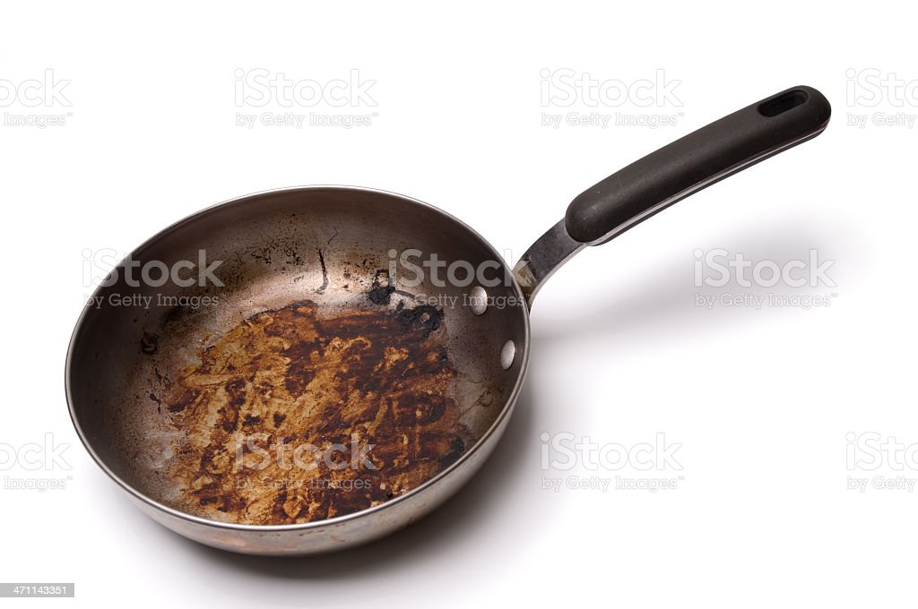 A dirty greasy frying pan on a white background royalty-free stock photo