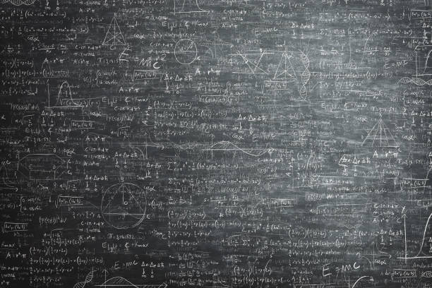 dirty grunge chalkboard full of mathematical problems and formula - foto stock
