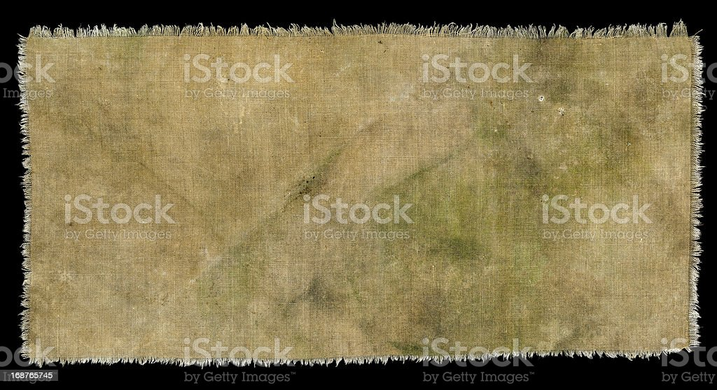 Dirty Grungy Cloth with Ragged Edge and Green Mold Stains stock photo