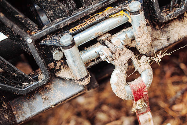 dirty hook winch bumper atv - cable winch stock photos and pictures