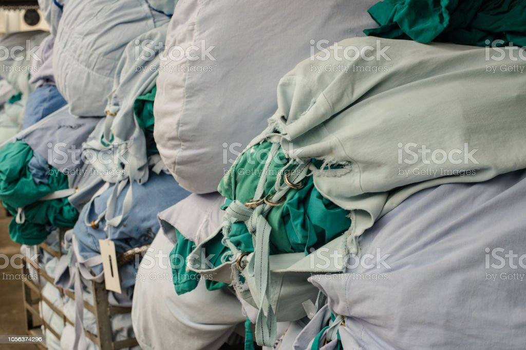 Dirty hospital cloth in the operating room. stock photo