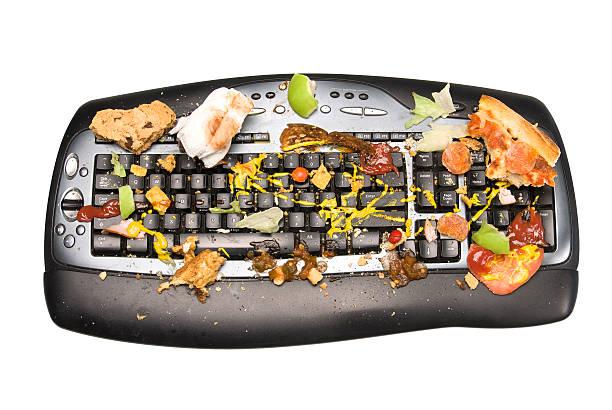 dirty tastatur - frucht pizza cookies stock-fotos und bilder