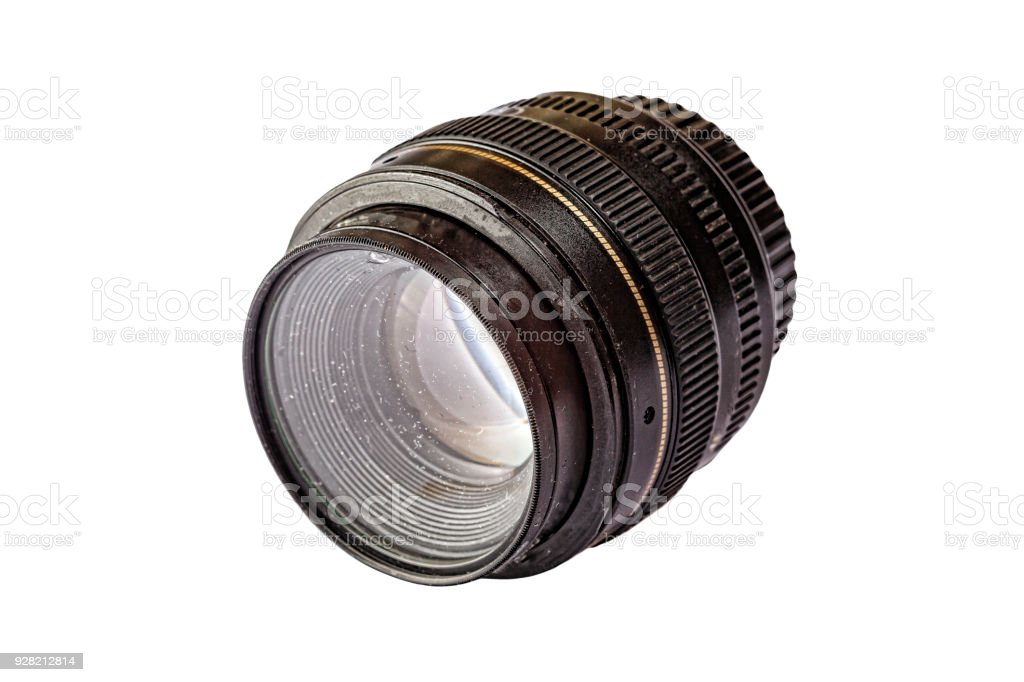dirty lens, digital camera, dusty, dirty, isolated, white backgr stock photo