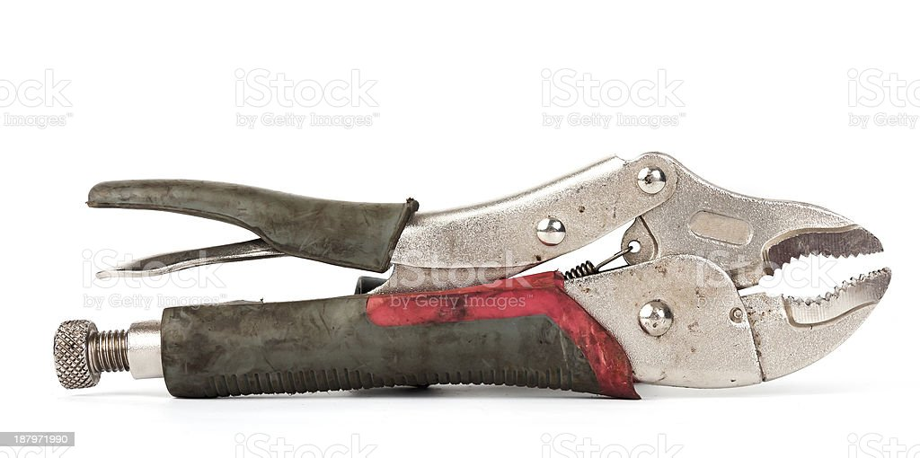 dirty locking grip pliers isolated on white background royalty-free stock photo