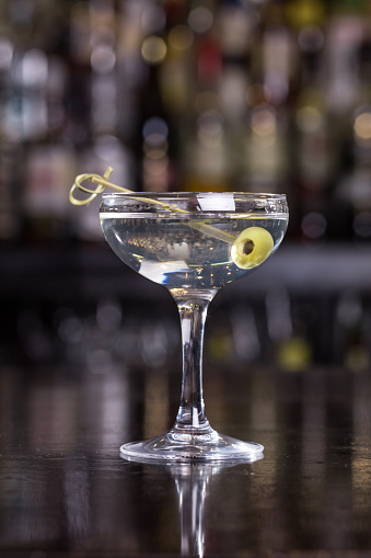Dirty Martini Cocktail Stock Photo - Download Image Now